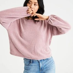 American Eagle Chenille Balloon-Sleeve Sweater